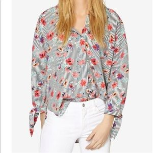 Sanctuary Women's Floral Striped Button Down Shirt